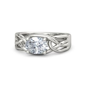 Oval Diamond Platinum Ring