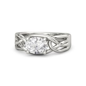 Oval White Sapphire Platinum Ring