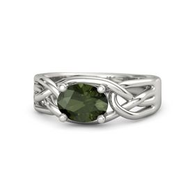 Oval Green Tourmaline Platinum Ring