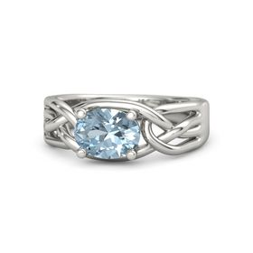 Oval Aquamarine Platinum Ring