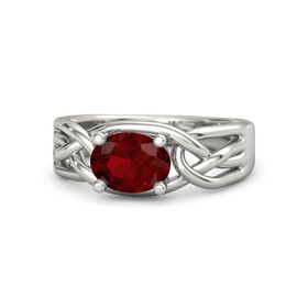 Oval Ruby Platinum Ring