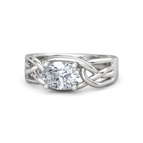 Oval Diamond Sterling Silver Ring