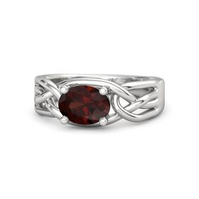 Oval Red Garnet Sterling Silver Ring