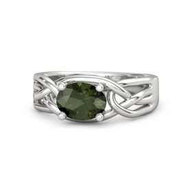 Oval Green Tourmaline Sterling Silver Ring