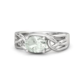 Oval Green Amethyst Sterling Silver Ring
