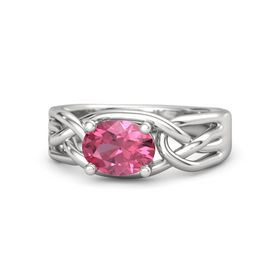 Oval Pink Tourmaline Sterling Silver Ring