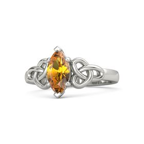 Marquise Citrine 14K White Gold Ring