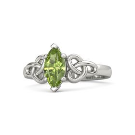 Marquise Peridot 14K White Gold Ring