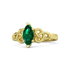 Marquise Emerald 14K Yellow Gold Ring