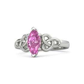Marquise Pink Sapphire 18K White Gold Ring