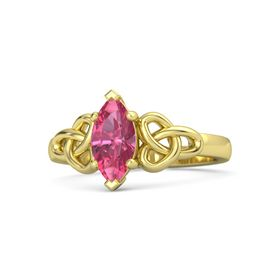 Marquise Pink Tourmaline 18K Yellow Gold Ring