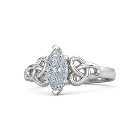 Marquise Diamond Sterling Silver Ring