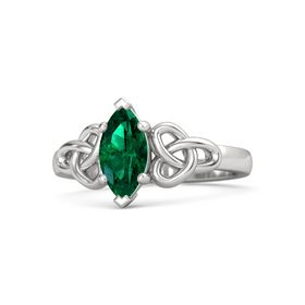 Marquise Emerald Sterling Silver Ring