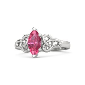 Marquise Pink Tourmaline Sterling Silver Ring