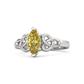 Marquise Yellow Sapphire Sterling Silver Ring