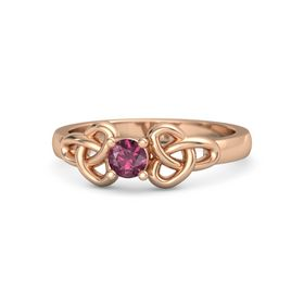 Round Rhodolite Garnet 14K Rose Gold Ring