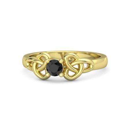 Round Black Diamond 14K Yellow Gold Ring