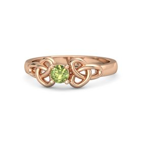 Round Peridot 18K Rose Gold Ring