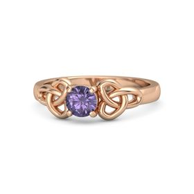 Round Iolite 14K Rose Gold Ring