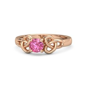 Round Pink Tourmaline 14K Rose Gold Ring