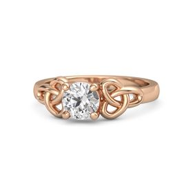 Round White Sapphire 14K Rose Gold Ring