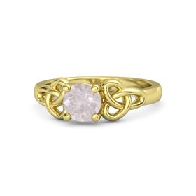 Round Rose Quartz 14K Yellow Gold Ring
