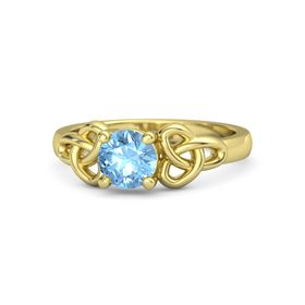 Round Blue Topaz 14K Yellow Gold Ring