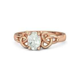 Oval Green Amethyst 14K Rose Gold Ring