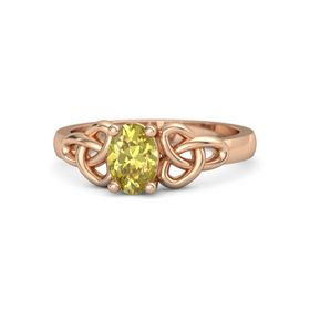 Oval Yellow Sapphire 14K Rose Gold Ring