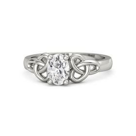 Oval White Sapphire 14K White Gold Ring