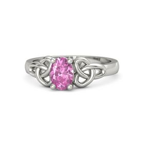 Oval Pink Sapphire 14K White Gold Ring