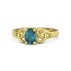 Oval London Blue Topaz 14K Yellow Gold Ring