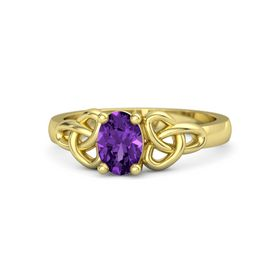 Oval Amethyst 14K Yellow Gold Ring