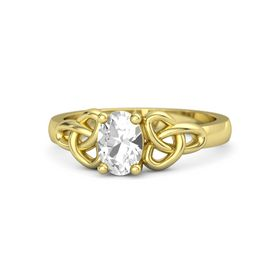 Oval Rock Crystal 14K Yellow Gold Ring