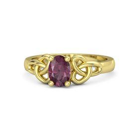 Oval Rhodolite Garnet 14K Yellow Gold Ring