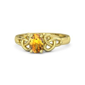 Oval Citrine 14K Yellow Gold Ring