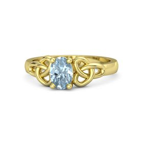 Oval Aquamarine 14K Yellow Gold Ring