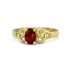 Oval Ruby 14K Yellow Gold Ring