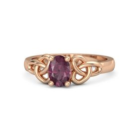 Oval Rhodolite Garnet 18K Rose Gold Ring
