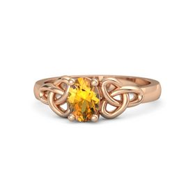 Oval Citrine 18K Rose Gold Ring