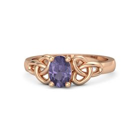 Oval Iolite 18K Rose Gold Ring