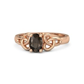 Oval Smoky Quartz 18K Rose Gold Ring