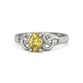 Oval Yellow Sapphire 18K White Gold Ring