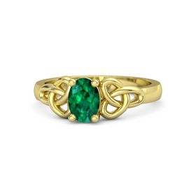 Oval Emerald 18K Yellow Gold Ring