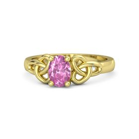 Oval Pink Sapphire 18K Yellow Gold Ring