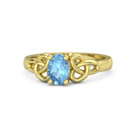 Oval Blue Topaz 18K Yellow Gold Ring