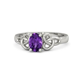 Oval Amethyst Palladium Ring