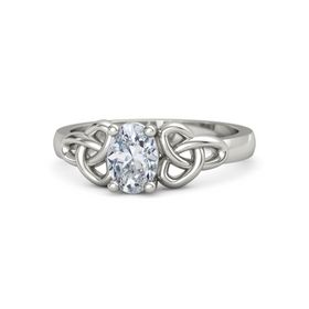 Oval Diamond Palladium Ring