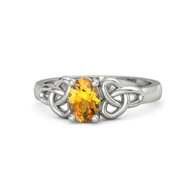 Oval Citrine Platinum Ring