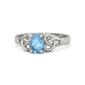 Oval Blue Topaz Platinum Ring